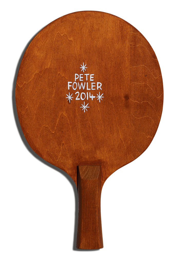 Back of Pete Fowler's racket